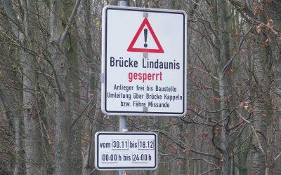 Schleibrücke in Lindaunis noch bis zum 18. Dezember gesperrt